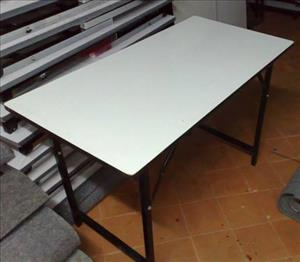 White laminate folding tables for rent -  60cm x 150cm